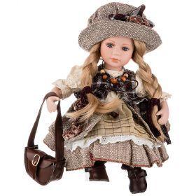 Кукла фарфоровая декоративная высота 30см-346-264