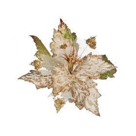 Цветок искусственный пуансетия диаметр=28см на клипсе
