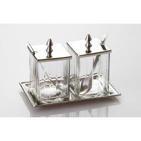 Набор для специй 2 пр.на подставке стекло-латунь высота=18 см-871-015