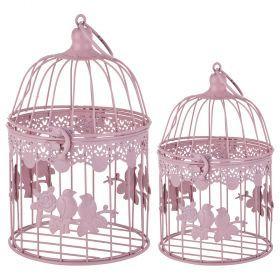 Набор клеток для птиц декоративных из 2-х шт.l:15*15*24,s:12*12*19 см-123-226