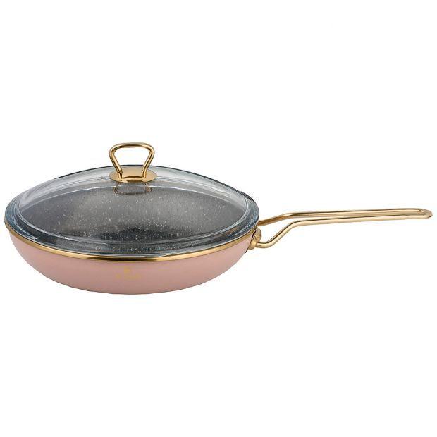 """Сковорода agness эмалированная со стекл. крышкой и антипригар. """"мраморным"""" покрытием, 26см-950-277"""