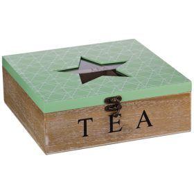 Шкатулка для чая звезда зеленая 24*24*9 см