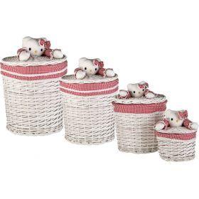Набор корзин для игрушек круглых из 4 шт.с крышками l:ф45*55,m:ф37*40,s:ф29*28,xs:ф21*16 см. (кор=1н