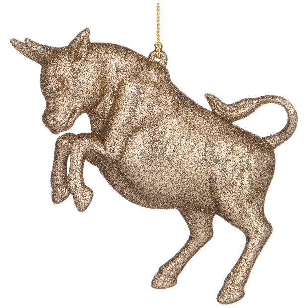 """Елочное украшение""""бык символ года 2021"""" 12,5*3 см высота=8,5 см цвет:бронза с глиттером ((мал-24/кор-865-473"""
