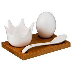 Набор для завтрака 3пр.: подставка для яйца + солонка + ложка на подставке 11,5*8  см высота=6,5 см-587-119