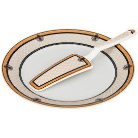 Блюдо для торта с лопаткой диаметр=23 см. высота=2 см. (кор=20шт.)-389-515