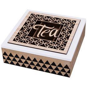 Шкатулка для чая 9-ти секционная 24*24 см высота=8 см-421-204