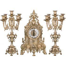 Комплект:каминные часы+2 подсвечника высота=41 см.диаметр=10 см.-333-097