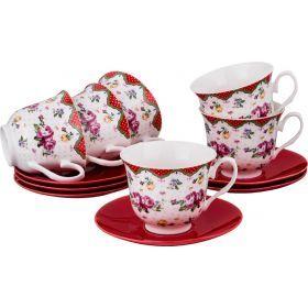 Чайный набор на 6 персон 12пр. 220 мл.-165-384