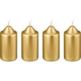 Набор свечей из 4 шт. 10*5 см. золотой металлик-348-445