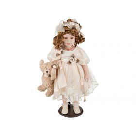 Кукла фарфоровая в кремовом платье высота=55 см-346-012