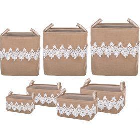 Набор корзин для белья с ручками из 7 шт xxl: 43*34*42 xl:39*30*39 l:35*26*37 sl:39*30*18 sm:35*26*1-190-217