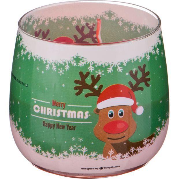 Ароматическая свеча в стакане диаметр=8 см. высота=7 см. цвет красный-602-075