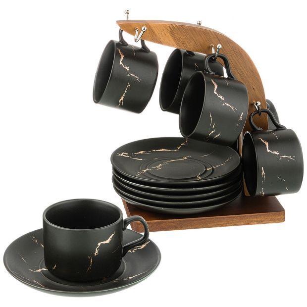 """Набор чашек с блюдцами на деревянной подставке коллекция """"золотой мрамор"""" цвет: black 150 мл-412-167"""