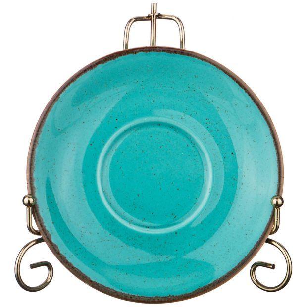 Блюдце для чашки seasons 16 см цвет бирюзовый (кор=24шт.)-664-108