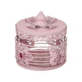 Банка для сыпучих продуктов розовая 11*13 см.