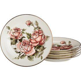 Набор тарелок из 6 шт.корейская роза диаметр=27 см. высота=3,5 см.