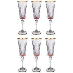 Набор бокалов для шампанского из 6 шт. 180 мл. высота=24 см.-103-592
