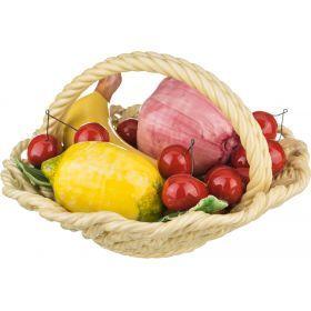 Изделие декоративное корзина с фруктами высота=13 см диаметр=22 см.