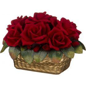 Изделие декоративное корзинка с розами 28*22*18 см.