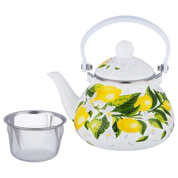 """Чайник эмалированный agness """"лимоны"""" с фильтром из нжс, 1,3л-934-370"""