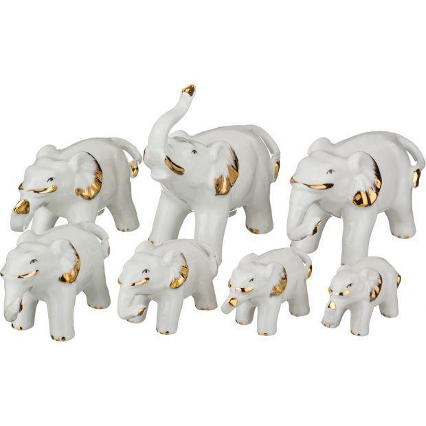 """Комплект статуэток """"7 слонов"""" 12*6/12*5/11*5/10*4/8*3/7*3/6*3 см. высота=11/6/5,5/5/4/3,5/3 см.-276-009"""