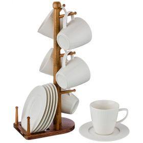 Чайный набор на 6 персон 12 пр. на деревянной подставке объем чашки= 200 мл (кор=6набор.)-235-110