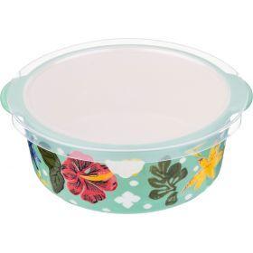 Блюдо для запекания с пластиковой крышкой диаметр=18 см. высота=7 см.-536-200