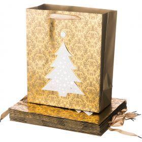 Комплект бумажных пакетов из 12 шт елка 32*26*12 см.