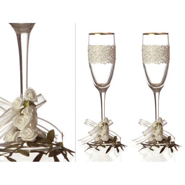 Набор бокалов для шампанского из 2 шт. с золотой каймой 170 мл.-802-510083