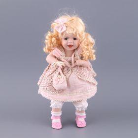 Фарфоровая кукла с мягконабивным туловищем высота=35 см-485-063