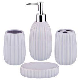 Набор для ванной комнаты 4 пр.:дозатор для мыла, мыльница, стакан для зубных щеток , стакан (кор=12к-755-213