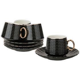 Кофейный набор на 4пер. 8пр. 90мл, черный (кор=12наб.)-91-053
