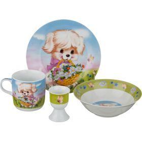 Наборы посуды на 1 персону 4пр.:миска,тарелка,кружка 200 мл.,подставка под яйцо-87-104