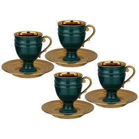Чайный набор lefard на 4 персоны 8 пр. 250 мл зеленый (кор=6наб.)-91-106