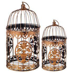Набор клеток для птиц декоративных из 2-х шт.l:19*19*36,s:15*15*27 см-123-217