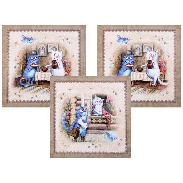 """Набор салфеток из 3-х шт  """"синие коты. любовь моя"""",40х40см, 100% хлопок,твил-850-719-8"""