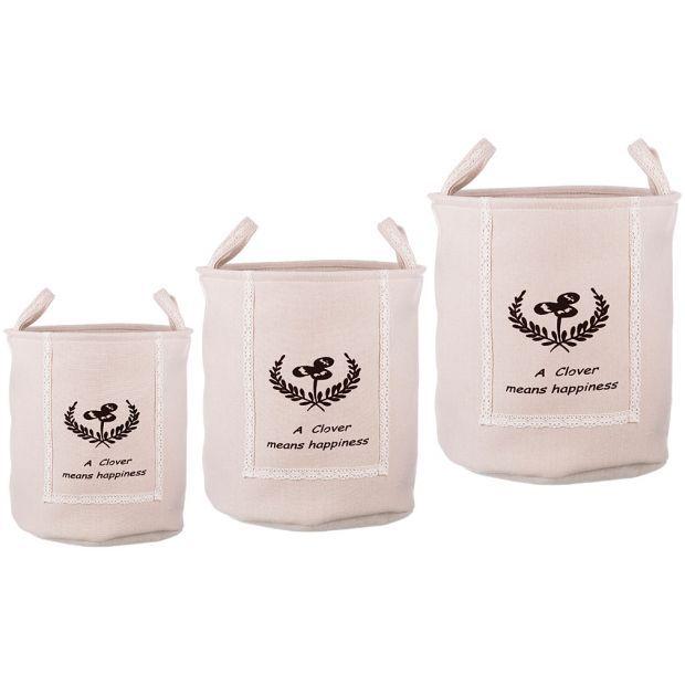Набор корзин для белья с ручками из 3-х шт l: ф40*42/m:ф36*39/s:ф32*37 см.-190-183