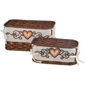 Набор корзин для белья с крышкой и чехлом из 2 шт.17*32*20/11*28*15 см.