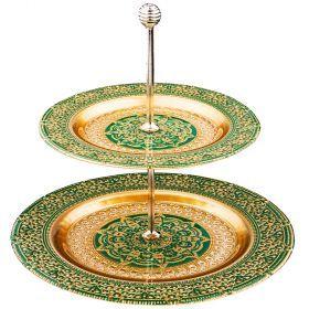 Блюдо двухярусное «jasmin» green  21,28 см-339-180