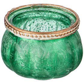 Подсвечник с металл.декором, д=9см, в=5,5см, зеленый перламутр (кор=48шт.)-132-040