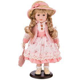 Кукла фарфоровая  декоративная высота 42см-346-268
