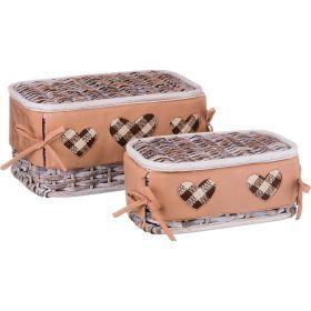 Набор корзин для белья с крышкой и чехлом из 2 шт. 17*33*20/11*28*15 см. без упаковки-131-220