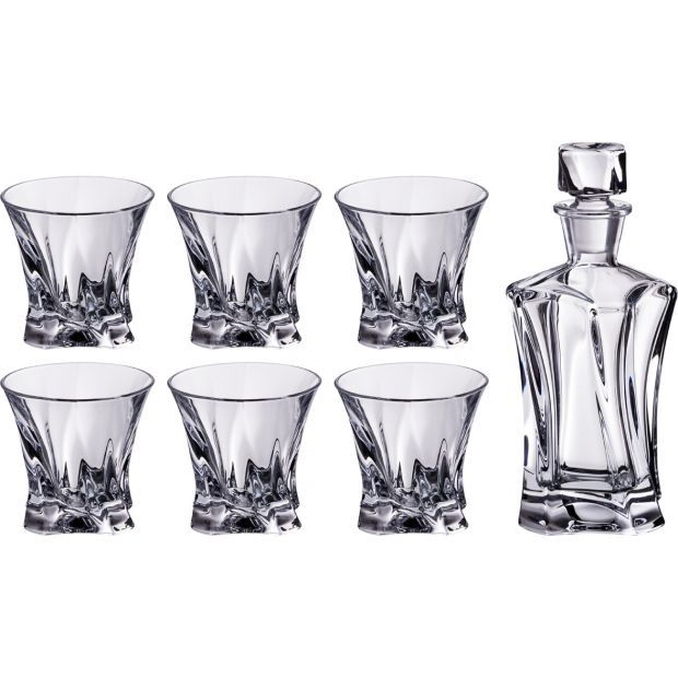 """Набор для виски  """"cooper"""" 7 пр.:штоф+6 стаканов 400/230 мл. высота=24/9 см.-614-538"""