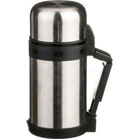 Термос с широким горлом 1000 мл, крышка-чашка, пластиковая чашка, двойная пробка, колба нжс (кор=12ш-910-052