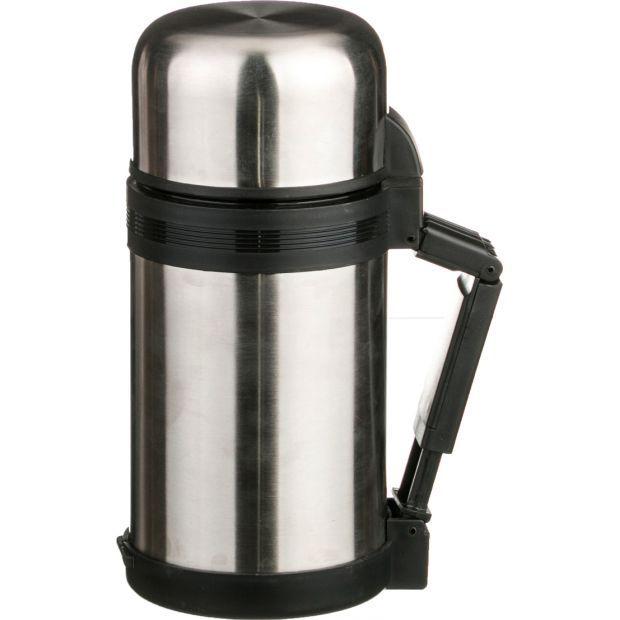 Термос agness с широким горлом 1000 мл крышка-чашка, пластиковая чашка, двойная пробка, колба нжс (к-910-052