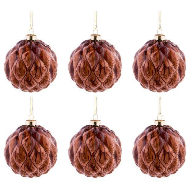 """Набор из 6-ти декоративных изделий коллекция мрамор""""шар"""" диаметр=8 см,высота=9 см цвет:бургундия-864-123"""