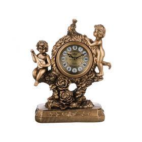 Часы настольные кварцевые бронзовые ангелы 21*10*25,5 см. диаметр циферблата=8 см.