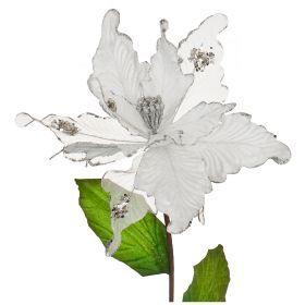 Цветок искусственный пуансетия диаметр=23см на клипсе