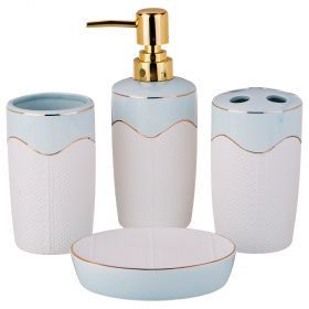 Набор для ванной комнаты 4 пр.:дозатор для мыла, мыльница, стакан для зубных щеток , стакан (кор=12к-755-207